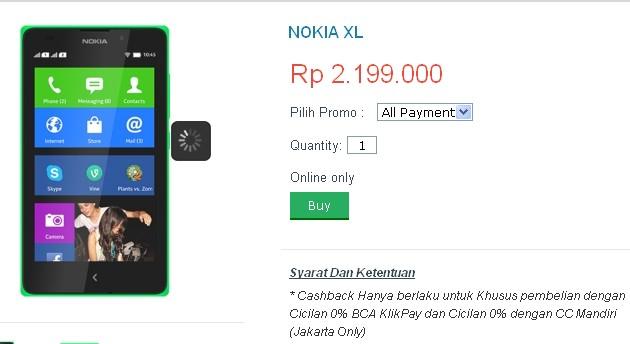 Harga Nokia XL Android Terbaru Dan Spesifikasi 2014