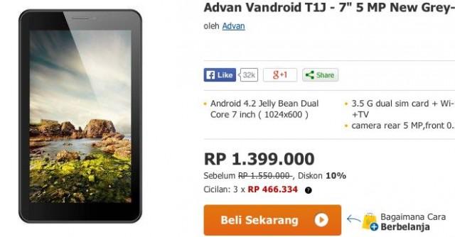 Harga Advan Vandroid T1J Tablet Murah Seharga 14 Juta